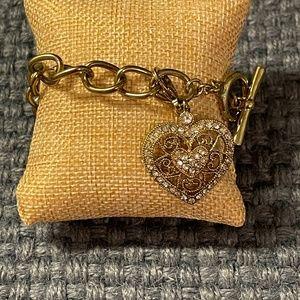 Vintage Monet charm bracelet heart rhinestones